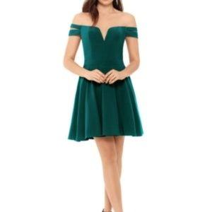 XScape Off Shoulder Fit & Flare Dress